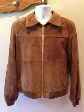 Vintage DISTRESSED SUEDE LEATHER JACKET 1970'S MEN Tan Brown SZ S SMALL
