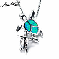 925 Silver Mom & Baby Turtle Blue Fire Opal Pendant Necklace Womens Jewelry Gift