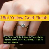 Gorgeous 18ct Yellow Gold Over Diamond Solitaire Ring Engagement 1.5 ct k Carat