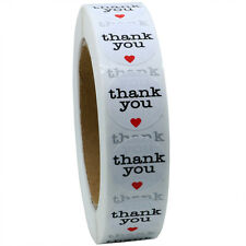 """1"""" Round Natural Thank You Stickers with Red Heart Total 1,000 Adhesive Labels"""