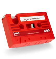 Rewind Desk Tidy Retro Cassette Tape Dispenser Office Gadget Storage - Red