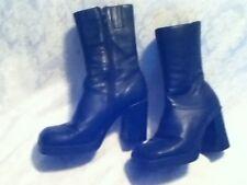 Steve Madden Black Leather Disco 70s 90s Platform Zip Women Calf Boot Sq Heel 8M