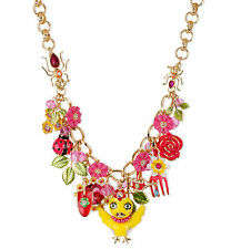 BETSEY JOHNSON 'Garden Party' Chickadee Flower Garden Tools Charm Necklace