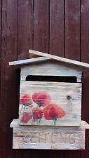 """Postkasten, BRIEFKASTEN,  Mail Box, aus Holz, Motiv """"Mohn"""""""