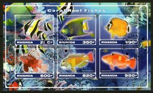 RWANDA 2017 CORAL REEF FISHES LES POISSONS PESCA MARINA SEA FAUNA STAMPS MNH CTO