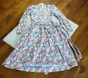 Vintage Laura Ashley Dress Puff Sleeves Cottagecore Floral Roses Prairie Size 10