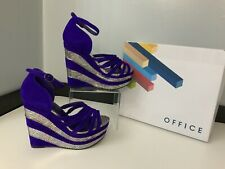 Office NEW purple Faux Suede Wedge Heels Shoes Bnib Size 38 Uk 5