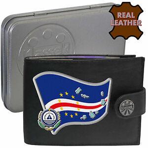 CAPE VERDE Klassek Mens Leather Wallet CAPE VERDEAN Flag map Emblem Metal Box