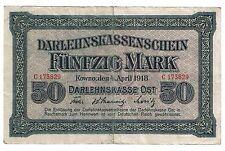 Germany Latvia Lithuania Poland Kowno 50 mark 1918   (B119)