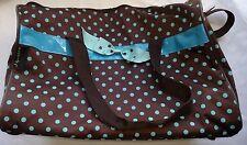 J Garden Brown Blue Polkadot Travel Duffel Bag 19-inch Carry Diaper Bag Bow Zips