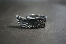Angel Wing Rider Freedom Silver Ring for Harley Davidson Outlaw Motor Biker TR94