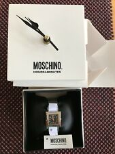 MOSCHINO SILVER STAINLESS STEEL BLACK FACE WOMENS WRIST WATCH