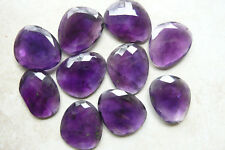 set 2 Amethyst Faceted Gem cabochons over 61carats Oval pear shape size 24x29mm