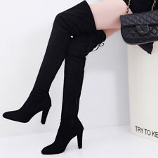 Women Long Stretch Over the Knee Boots Thigh High Heeled Boots Zipper Lace Shoes