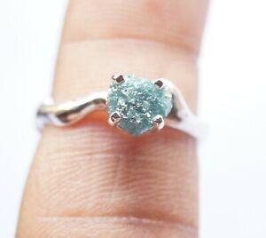 1.42ct Natural Blue Rough Raw Diamond Engagement Ring, Diamond 925 Silver Ring