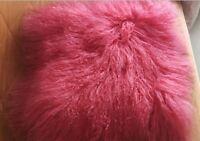 "Real Mongolian Tibetan Lamb Fur Pillow Cushion Cover Pillowcase Luxury 16"" X 16"""