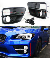 FOR 2015-17 SUBARU WRX STi VA FOG LIGHT BEZEL COVER + SMOKE TINTED WHITE LED DRL