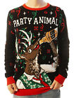 Ugly Christmas Party Sweater Unisex Men's Reindeer Party Animal Drinking