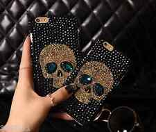 Punk skull bling bling Black rhinestone For Various Mobile Phones Cover Case