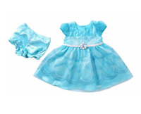 NWT Jona Michelle Baby Girl's 2 Piece Dress With Diaper Cover - FROZEN BLUE