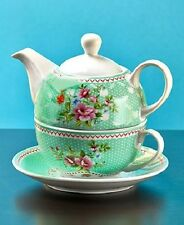 Floral Tea for One Set  Stacked Teapot Cup & Saucer GREEN FLORAL