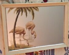 1940s-1950s Turner Pink Flamingo Framed Wall Mirror Mid-Century Modern