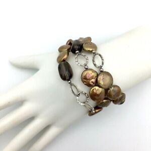 "SILPADA bronze coin pearl smoky quartz sterling 3-strand bracelet - B1850 7.5"""