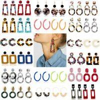 Boho Geometric Acrylic Statement Earrings Fashion Hoop Resin Dangle Women Summer