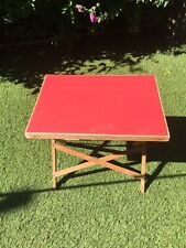 Vintage Game Craft Small  Table Wooden Folding Legs Red Plastic Top