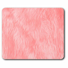 Computer Mouse Mat - Pink Fluffy Hair Rug Fabric Effect Office Gift #14641