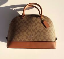 Coach Sierra Signature Khaki Saddle Brown Leather Satchel Bag Handbag Purse