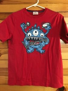 Hanna Andersson Musical Monster Shirt Boys Red Top EUC Size 150 12