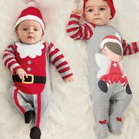 Noël garçons bébé fille barboteuse vêtements chapeau / Serre-tête Papa costume