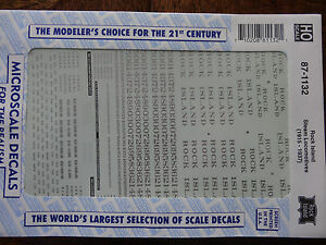 Microscale Decal HO  #87-1132 Rock Island Steam Locomotives Dates:1915-37