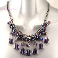 Burlesque Bohemian Nouveau Baroque Gothic Purple Czech Glass Chandelier Necklace