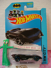 Case B/C 2014 Hot Wheels THE BATMAN BATMOBILE #61 US Team✰Black w/Blue✰HW CITY