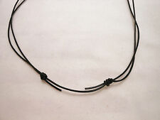 Black Leather Adjustable Unisex 1mm Cord Surfer Choker Necklace- Made in USA