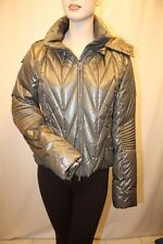 NEW BCBG MAX AZRIA PEWTER ZIP-UP QUILTED HOODIE JACKET COAT SIZE L