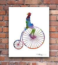 High Wheel Bike Abstract Watercolor Penny Farthing Art Print by Artist DJ Rogers