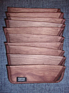 Foster Grant Reading Glass Soft Case Sleeve, WOOD GRAIN, Lot of 10 #12-7