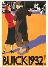 Postcard Advertising buick 1932 dog woman man car sterne stevens