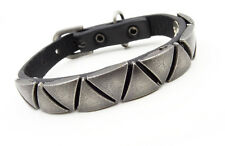 New Mens Cool Faux Leather Buckle Bracelet with Metal Triangle Pattern #MC33678