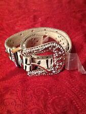 Western Cowgirl Bling Studded Crystal Faux Fur Rhinestone Leather Zebra Belt