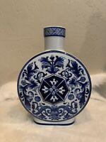 Bombay Cobalt Blue & White Porcelain Vase - 10.5 Inches Tall