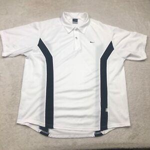 Nike Tennis Polo Shirt Mens Large White Black Dri Fit