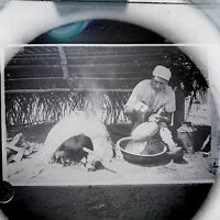 Antique Glass Plate Negative Photograph Man Making Pot Or Bread ?