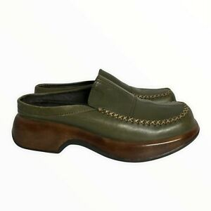DANSKO Y2K Leather Square Toed Slip-On Chunky Heel Stitching Detail Loafers 38EU