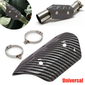 Carbon Fiber ATV Motorcycle Exhaust Pipe Protector Heat Insulation Cover Shield