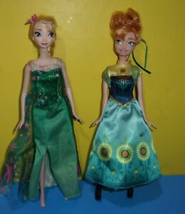 "Mattel Frozen Fever Birthday Party Elsa 11"" Doll NO SHOES with Sister Anna"