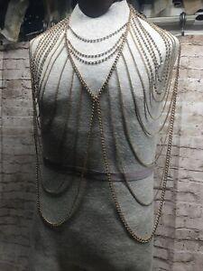 Vincero Body Armor Chain Gold Statement Piece Costume Jewelry